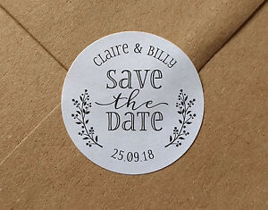 save the date wedding stickers envelope seals personalised names