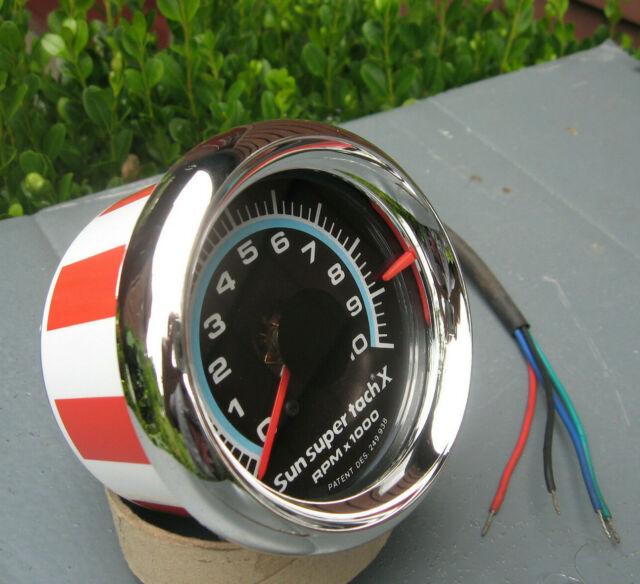 Sun Blue Line Super X 10k 10 000 Rpm Tach Tachometer Stars