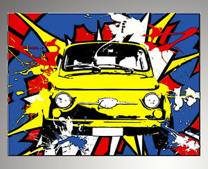 QUADRO-MODERNO-FIAT-500-POP-ART-ACTION-DIPINTO-ASTRATTO-A-MANO-painting