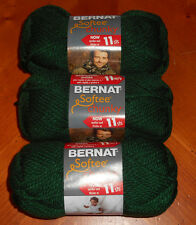 Bernat Softee Chunky Yarn Lot Of 3 Skeins (Dark Green #28237)