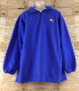 Vtg-Tommy-Hilfiger-Fleece-Jacket-Men-XL-Cobalt-Blue-Loose-Baggy-1-4-Zip-Pullover