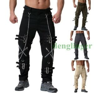 686a6bf3bc Punk Mens Loose Pants Buckle Chain Trousers Hiking Casual Pants ...