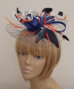 Image Is Loading New Bespoke Navy Orange Cream Fascinator Mother Of