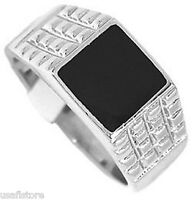 Mens Jet Black Top Rhodium Plated Ring