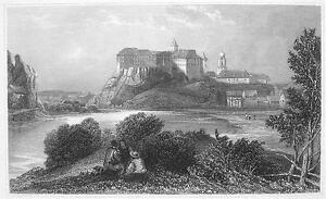 GERMANY-Siegmaringen-Town-amp-Castle-Antique-Print-Engraving