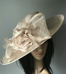 LADIES BABY PINK WEDDING ASCOT HAT FORMAL OCCASION MOTHER OF THE BRIDE