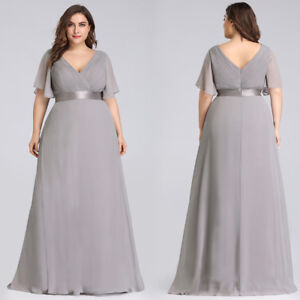 Details about Ever-Pretty Chiffon Formal V-Neck Evening Grey Long  Bridesmaid Dresses Plus Size