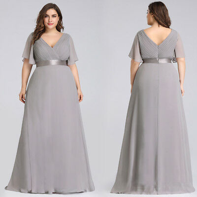 Ever-Pretty Chiffon Formal V-Neck Evening Grey Long Bridesmaid ...