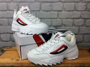 Details zu FILA LADIES UK 4.5 EU 38 DISRUPTOR II REPEAT WHITE LEATHER  TRAINERS