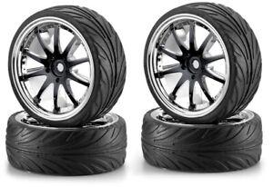 Carson Big Wheel Set 2 Noir-chrome 1:10 #500900080-afficher Le Titre D'origine Emballage De Marque NomméE