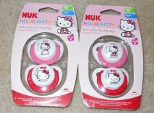Lot of 4 NUK Hello Kitty orthodontic pacifiers 6-18 months BPA free pink red