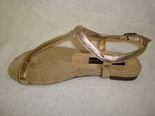 STEVEN by Steve Madden  leather Aris Thong Sandal  gold 6m new