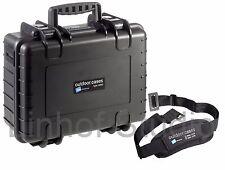 B&W Outdoor HARD CASE 4000 Nero Inserto di schiuma + Cinghia di trasporto 420x325x180mm