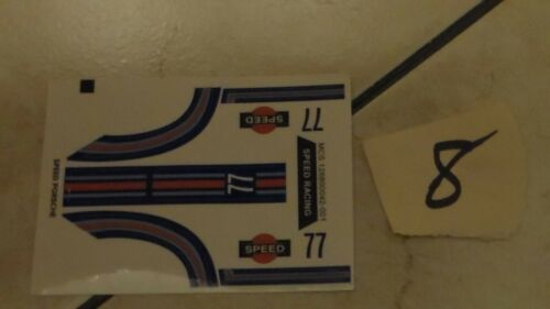 BRAND NEW 1//43 scale 8ea stick on decals as shown ARTIN,Carrera,SCX,Revell #S-8