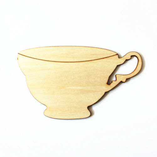 5x Large Wooden Tea Cup Shaped Wood Craft Blank Embelishment Rustic Decor