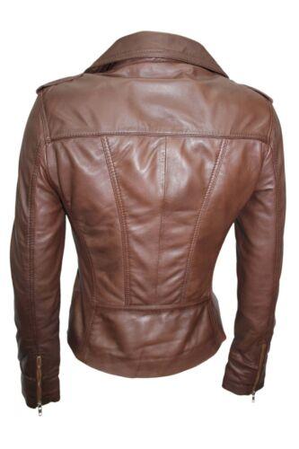 Luxury Ladies Stylish Jacket Brown Real Italian Nappa Leather Biker Style Design