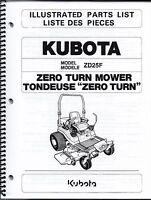 Kubota Zd25 Zero Turn Mower Illustrated Parts Manual