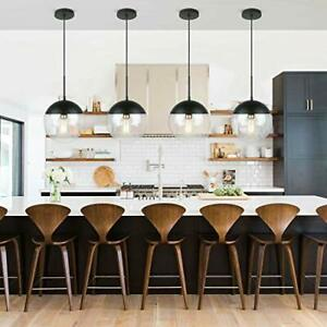 Details About Modern Pendant Hanging Light Clear Gl Shade Edison Farmhouse Kitchen Lamp