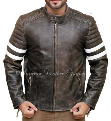 Vintage Pour Homme Motard vieilli antique en cuir marron veste
