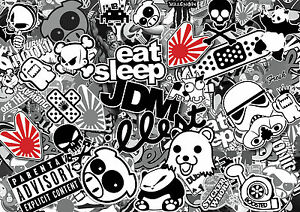 x4-JDM-BLACK-WHITE-sticker-bombing-sheets-A4-sticker-bomb-decal-Euro-style