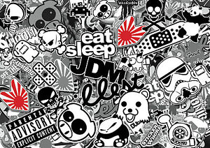 x4-JDM-BLACK-amp-WHITE-sticker-bombing-sheets-A4-sticker-bomb-decal-Euro-style