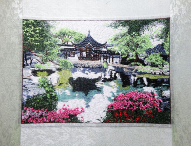 High quality chinese  stunning handmade embroidery painting- garden landscape