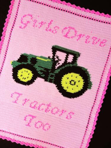 Crochet Patterns GIRLS DRIVE TRACTORS TOO Pattern