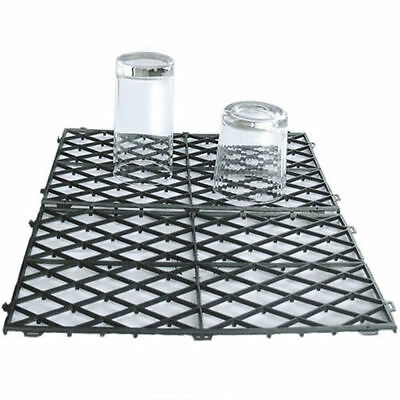 Black Glass Bar Mats Stacking Plastic Interlocking Shelf Mat Pub Home Barware