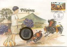 superbe enveloppe PHILIPPINES PILIPINAS monnaie 50 S 1985 UNC NEW timbre COQS