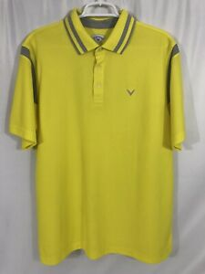 Callaway-Mens-L-Yellow-Short-Sleeve-Golf-Polo-Shirt-Polyester