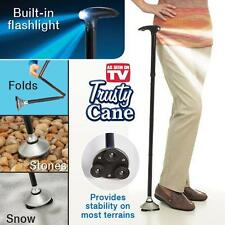 Walking Stick Cane with Light Folding & Adjustable Free Standing  UK STOCK