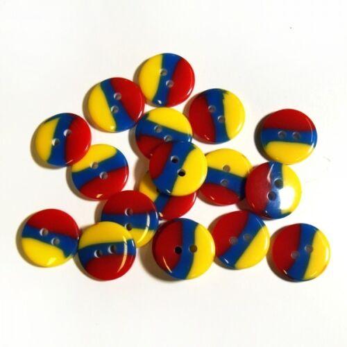 20 x 13mm Tricolour Flag Buttons Germany Romania Malawi France Denmark