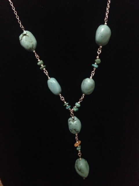 Turquiose Stone Y Chain Necklace