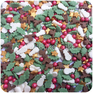 Details About Christmas Mix Sprinkles Edible Sugar Cupcake Sprinkles Cake Decoration