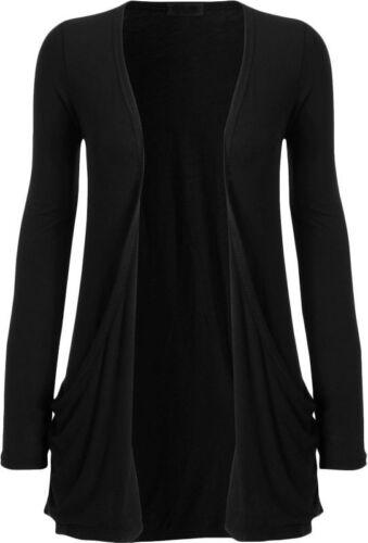 New Womens Ladies Girls Long Sleeve Pockets Boyfriend Cardigan UK Plus Size 8-24