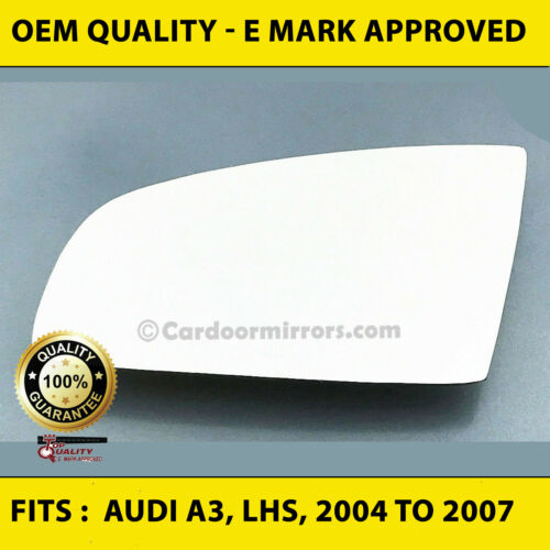 Wing Mirror Glass, Audi A3 (2004 to 2007)  convex - left Hand Side