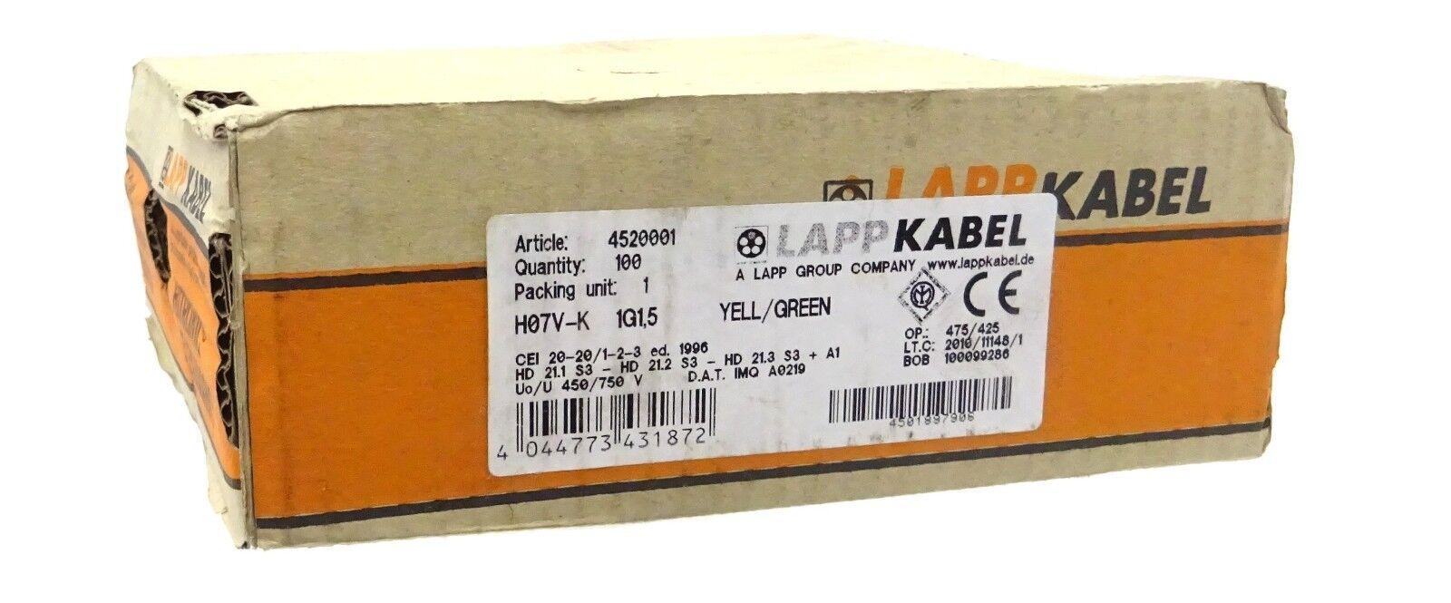 LAPP KABEL H07V-K Litze Einzelader PVC 1,5mm²  Schwarz 100m 4520011 UNUSED