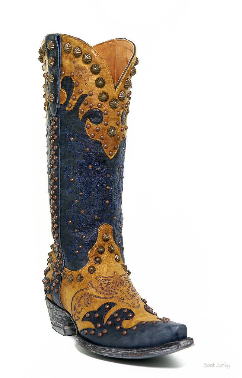 L1244-6 OLD GRINGO RAELENE NAVY BUTTERCUP WOMEN'S LEATHER RIVETED BOOTS