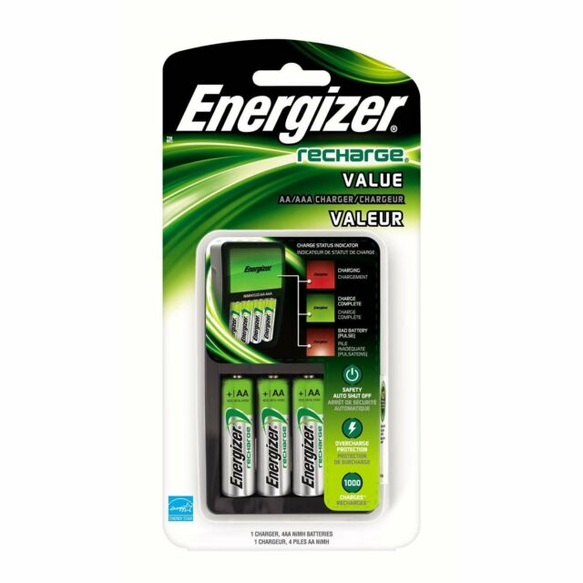 NEW Energizer Value Charger with AA Rechargeable NiMH Batteries CHVCMWB-4