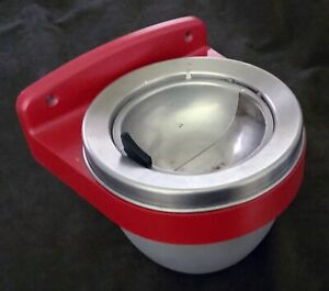 """Vintage 8"""" Bullet-Dome Metal Wall Mount ASHTRAY - Red Trim + Internal Bucket"""