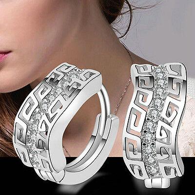 Women's Silver Plated Crystal Rhinestone Ear Stud Dangle Hoop Earrings Jewelry