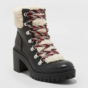 Women's Aubrie Heeled Hiking Boots - Universal Thread Black 11