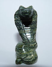 Silver Eye ( Sepentine & Chrysotile Banded) COBRA SNAKE Carving.