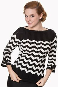 Black-White-Zigzag-Stripes-Boat-Neck-Vintage-Retro-Knitted-Top-By-Banned-Apparel
