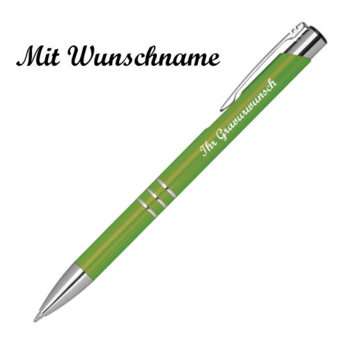50 Kugelschreiber aus Metall mit Namensgravur hellgrün Farbe