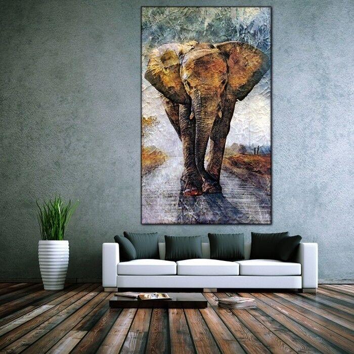 LEINWAND BILD ER XXL POP ART ELEFANT AFRIKA BUNT ABSTRAKT WAND POSTER 150x90