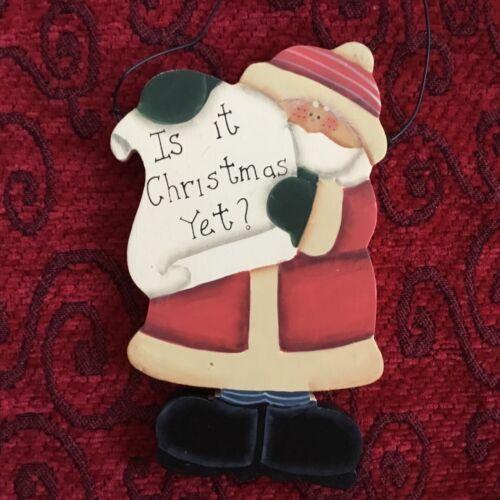 Details about  /Christmas Santa Ornament Hanger Hand Painted Wood Farm House