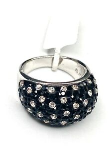 NWT-Black-Clear-Pave-Rhinestone-Sterling-Silver-925-Domed-Ring-SZ-7