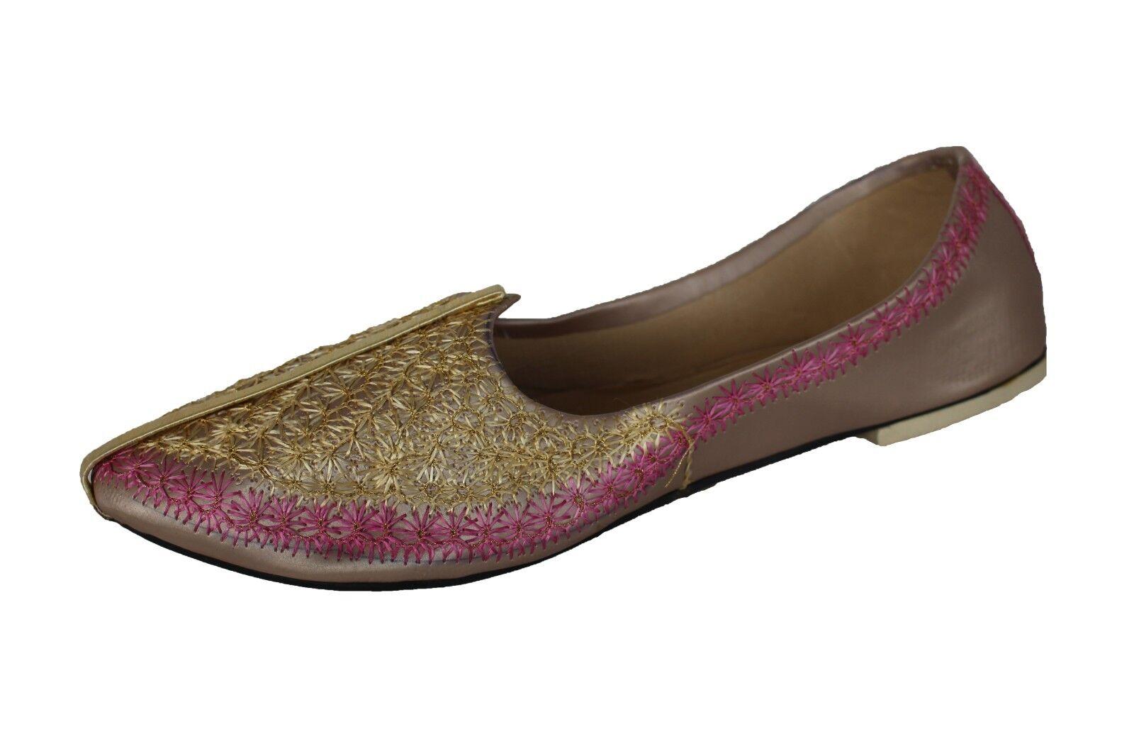 Size 7.5-13 New Indian Men's gold and Pink Mojari Khussa Jutti shoes UK SELLER