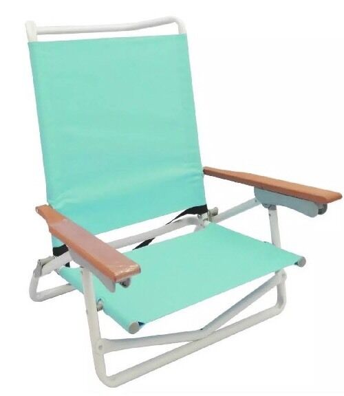 5 Position Aqua Folding Powder Coated White Aluminum Metal Beach Chair